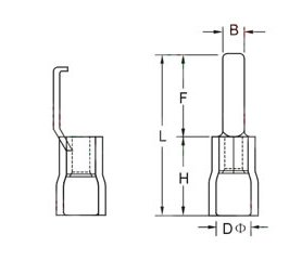 INSULATED LIPPED BLADE TERMINALS size