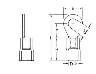 INSULATED HOOK TERMINALS size